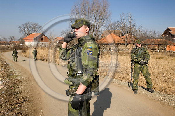 GRACANICA - KOSOVO 15 FEB 2008 -- Kosovo awaiting declaration of independence: Swedish soldier Jonas Skoglund is patroling serb areas of the village of Gracanica  -- PHOTO: © GORM K. GAARE/ EUP-BERLIN...