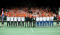 07-05-10, Tennis, Zoetermeer, Daviscup Nederland-Italie, Dutch team and Italy's(R) Team during presentation
