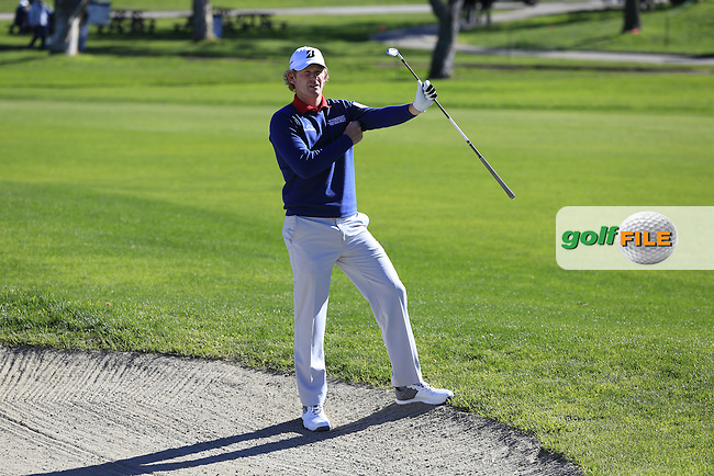 Brandt Snedeker (USA) in a fairway bunker on the 1st hole during Friday's Round 2 of the 2017 Farmers Insurance Open held at Torrey Pines Golf Course, La Jolla, San Diego, California, USA.<br /> 27th January 2017.<br /> Picture: Eoin Clarke | Golffile<br /> <br /> <br /> All photos usage must carry mandatory copyright credit (&copy; Golffile | Eoin Clarke)