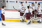 Matthew Gaudreau (BC - 21), Chris Calnan (BC - 11), Austin Cangelosi (BC - 9), Scott Savage (BC - 2), Ryan Fitzgerald (BC - 19) - The Boston College Eagles defeated the University of Vermont Catamounts 7-4 on Saturday, March 11, 2017, at Kelley Rink to sweep their Hockey East quarterfinal series.The Boston College Eagles defeated the University of Vermont Catamounts 7-4 on Saturday, March 11, 2017, at Kelley Rink to sweep their Hockey East quarterfinal series.