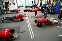 Players work out in the gym during the Swansea City Training at The Fairwood Training Ground, Swansea, Wales, UK. Wednesday 11 October 2017