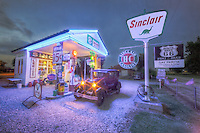 Many old gas stations have been restored along RT66.  This one is the Gay Parita Sinclair Station & Garage near Paris Springs, Missouri.