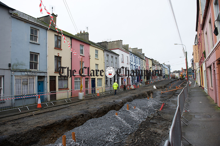 A general view of the ongoing road works at Moore Street, Kilrush. Photograph by John Kelly.