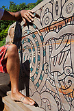 FRENCH POLYNESIA, Moorea Island. Carvings on wood at the Atitia Center.