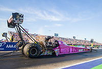 Oct 16, 2015; Ennis, TX, USA; NHRA top fuel driver Antron Brown during qualifying for the Fall Nationals at the Texas Motorplex. Mandatory Credit: Mark J. Rebilas-USA TODAY Sports