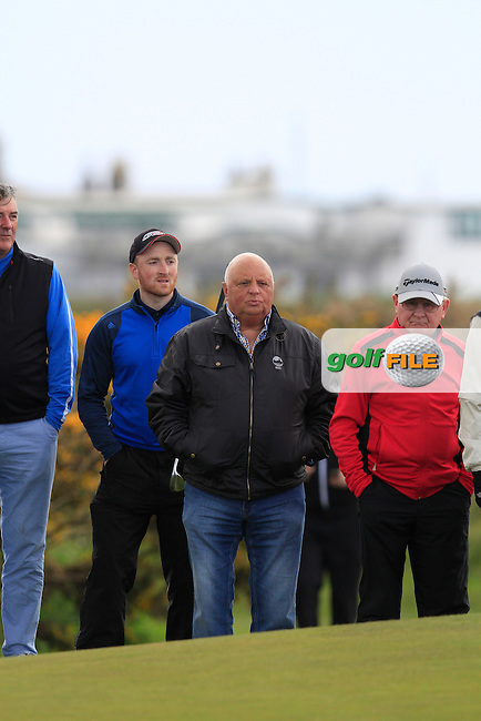 Ronnie Morrison watches on at the 14th green during Round 4 of the Irish Amateur Open Championship at Royal Dublin on Saturday 10th May 2015.<br /> Picture:  Thos Caffrey / www.golffile.ie