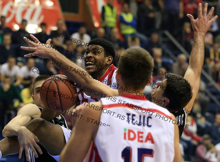 Kosarka ABA League season 2015-2016<br /> Crvena Zvezda v Partizan<br /> Ryan Thompson (C) and Cedomir Vitkovac (R)<br /> Beograd, 03.11.2015.<br /> foto: Srdjan Stevanovic/Starsportphoto&copy;