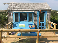 Thalassa Dune Shack Raised in it's Current Location by Volunteers in 2017