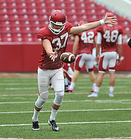 NWA Democrat-Gazette/MICHAEL WOODS &bull; @NWAMICHAELW<br /> University of Arkansas punter Toby Baker runs drills during practice Saturday August 22, 2015 at Razorback Stadium in Fayetteville.