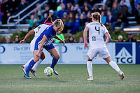 Allston, MA - Sunday, May 22, 2016: FC Kansas City midfielder Desiree Scott (3), Boston Breakers forward Kathryn Schoepfer (88) and FC Kansas City defender Becky Sauerbrunn (4) during a regular season National Women's Soccer League (NWSL) match at Jordan Field.