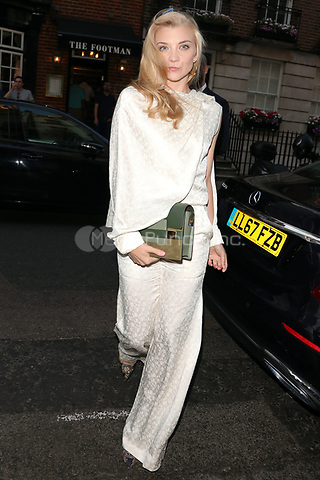Natalie Dormer is pictured arriving at Marks Club for the Vogue Dinner in London.<br />