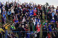 Part of the crowd on the 18th hole during the Sunday Singles Matches of the Ryder Cup at Gleneagles Golf Club on Sunday 28th September 2014.<br /> Picture:  Thos Caffrey / www.golffile.ie