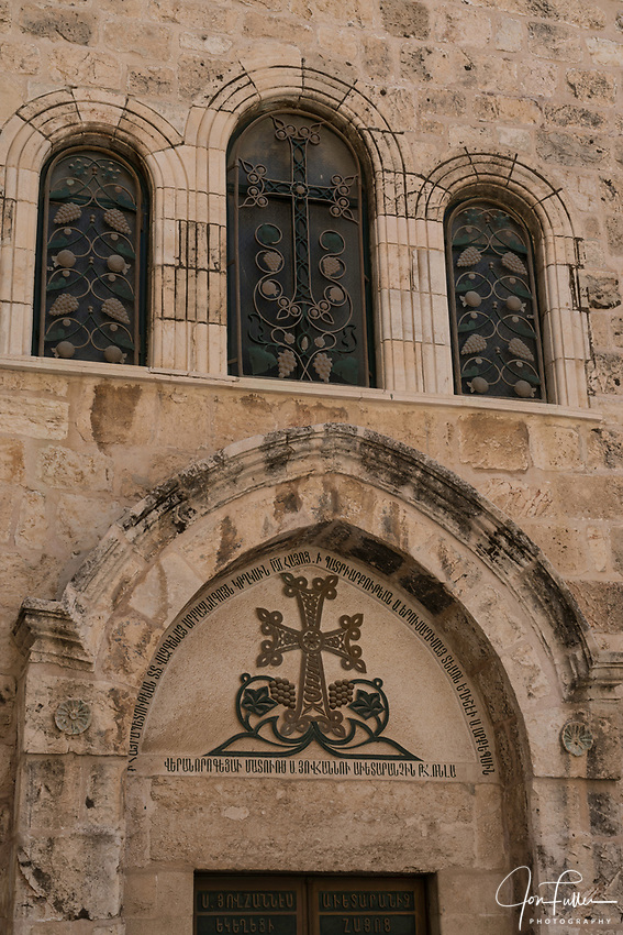 The Armenian Orthodox Chapel of St. John in the Church of the Holy Sepulchre in the Christian Quarter of the Old City of Jerusalem.  The Old City of Jerusalem and its Walls is a UNESCO World Heritage Site.  This church was built over the site believed by many to be location of the death and burial of Jesus Christ.