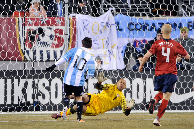 United States goalkeeper Tim Howard (1) makes a save on Lionel Messi (10) of Argentina. The United States (USA) and Argentina (ARG) played to a 1-1 tie during an international friendly at the New Meadowlands Stadium in East Rutherford, NJ, on March 26, 2011.