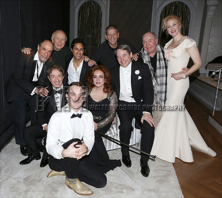 F. Murray Abraham, Playwright Terrence McNally, Martin Short, Maulik Pancholy, Micah Stock, Stockard Channing, producer Tom Kirdahy, Matthew Broderick, director Jack O'Brien and Katie Finneran backstage after a performance of 'It's Only A Play' at the Schoenfeld Theatre on January 67, 2015 in New York City.