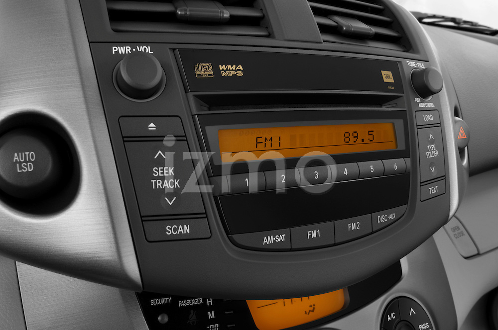 Stereo audio system close up detail view of a 2008 Toyota Rav4 Limited Stock Photo