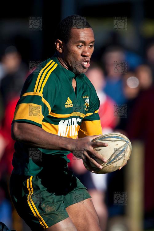 David Raikuna.Counties Manukau Premier Club Rugby semi final game between Pukekohe and Karaka, played at Colin Lawrie Fields Pukekohe on Saturday July 10th 2010.Pukekohe won 44 - 20 and will meet Waiuku in next weeks final at Growers Stadium.