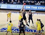 SIOUX FALLS, SD - MARCH 7: IPFW Mastodons guard Jarred Godfrey #1 wins the tipoff against South Dakota State Jackrabbits forward Matt Dentlinger #32 at the 2020 Summit League Basketball Championship in Sioux Falls, SD. (Photo by Miranda Sampson/Inertia)