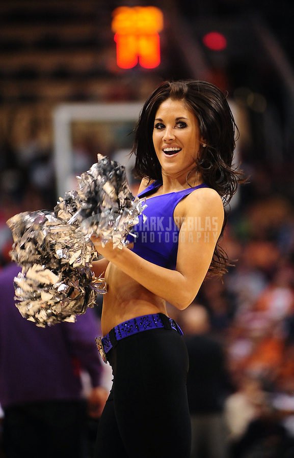 Dec. 3, 2010; Phoenix, AZ, USA; A Phoenix Suns dancer performs against the Indiana Pacers at the US Airways Center. The Suns defeated the Pacers 105-97. Mandatory Credit: Mark J. Rebilas-