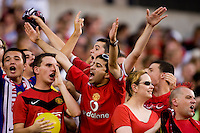 Manchester United fans cheer during a friendly match at Lincoln Financial Field in Philadelphia, Pennsylvania.  Manchester United defeated Philadelphia Union, 1-0.