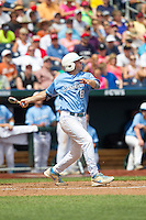 North Carolina Tar Heels outfielder Parks Jordan #8 bats during Game 3 of the 2013 Men's College World Series between the North Carolina State Wolfpack and North Carolina Tar Heels at TD Ameritrade Park on June 16, 2013 in Omaha, Nebraska. The Wolfpack defeated the Tar Heels 8-1. (Brace Hemmelgarn/Four Seam Images)