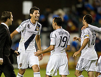 Omar Gonzalez of Galaxy celebrates with Juninho of Galaxy during the game at Buck Shaw Stadium in Santa Clara, California on November 7th, 2012.   LA Galaxy defeated San Jose Earthquakes, 3-1.