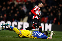 11th February 2020; Griffin Park, London, England; English Championship Football, Brentford FC versus Leeds United; Said Benrahma of Brentford shoots to score his sides 1st goal in the 25th minute to make it 1-0 after a Goalkeeper Francisco Casilla of Leeds United fumbled the ball
