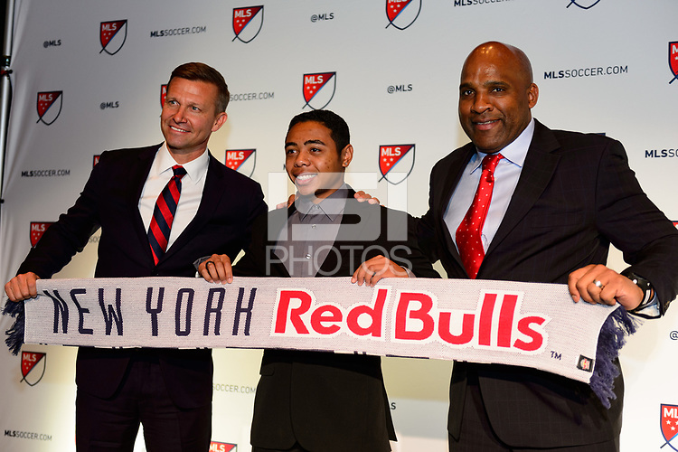 Philadelphia, PA - Friday January 19, 2018: Jesse Marsch, Niko De Vera, Denis Hamlett during the 2018 MLS SuperDraft at the Pennsylvania Convention Center.