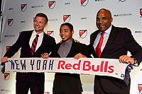 Philadelphia, PA - Friday January 19, 2018: Jesse Marsch, Niko De Vera, Denis Hamlett during the 2018 MLS SuperDraft at the Pennsylvania Convention Center.