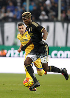 Calcio, Serie A: Frosinone vs Juventus. Frosinone, stadio Comunale, 7 febbraio 2016.<br /> Juventus&rsquo; Paul Pogba in action during the Italian Serie A football match between Frosinone and Juventus at Frosinone's Comunale stadium, 7 January 2016.<br /> UPDATE IMAGES PRESS/Isabella Bonotto