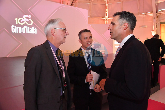 Former Multiple Grand Tour Champion Miguel Indurain and UCI President Brian Cookson at the 100th edition Giro d`Italia 2017 route presentation held at the Ice Palace in Milan, 25th October 2016.<br /> Picture: ANSA/Luca Zennaro | Newsfile<br /> <br /> <br /> All photos usage must carry mandatory copyright credit (&copy; Newsfile | ANSA/Luca Zennaro)