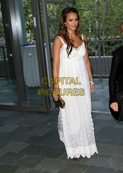 Jessica Alba.Covenant House California 2011 Gala and Awards Dinner Held At The Skirball Cultural Center, Los Angeles, California, USA..June 9th, 2011.full length white lace crochet maxi maternity pregnant gold clutch bag.CAP/ADM/KB.©Kevan Brooks/AdMedia/Capital Pictures.
