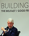 Former US President Clinton looks towards photographers during a panel discussion at Queen's University Belfast, Tuesday, April 10th, 2018. Tuesday marks 20 years since politicians from Northern Ireland and the British and Irish governments agreed what became known as the Good Friday Agreement. It was the culmination of a peace process which sought to end 30 years of the Troubles. Two decades on, the Northern Ireland Assembly is suspended in a bitter atmosphere between the two main parties. Photo/Paul McErlane