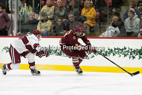 Seb Lloyd (Harvard - 15), Chris Calnan (BC - 11) - The Harvard University Crimson defeated the visiting Boston College Eagles 5-2 on Friday, November 18, 2016, at Bright-Landry Hockey Center in Boston, Massachusetts.{headline] - The Harvard University Crimson defeated the visiting Boston College Eagles 5-2 on Friday, November 18, 2016, at Bright-Landry Hockey Center in Boston, Massachusetts.