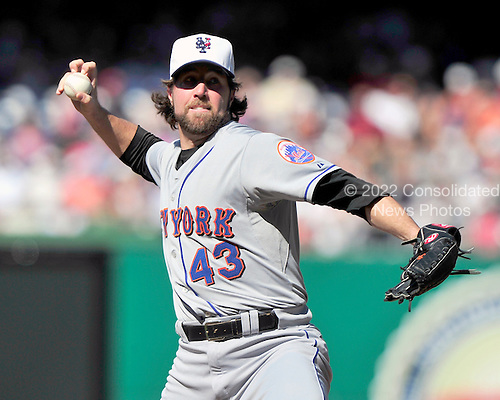 New York Mets pitcher R.A. Dickey (43) pitches in the second inning against the Washington Nationals at Nationals Park in Washington, D.C. on Saturday, July 3, 2010.  .Credit: Ron Sachs / CNP.(RESTRICTION: NO New York or New Jersey Newspapers or newspapers within a 75 mile radius of New York City)