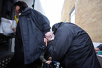 Pictured: Robert Riley (R) is led handcuffed by a custody officer to a waiting prison van after being sentenced by Swansea Magistrates. Thursday 08 May 2014<br /> Re: A man who admitted posting abusive Twitter messages about the death of school teacher Ann Maguire has been jailed for 8 weeks by Swansea Magistrates Court this morning.<br /> Robert Riley, from Port Talbot, South Wales, had appeared before magistrates in Leeds where he admitted sending a message of a grossly offensive, abusive or malicious character.<br /> Mrs Maguire, 61, was stabbed to death in her classroom in Leeds a week ago.