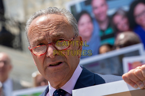 United States Senate Minority Leader Chuck Schumer (Democrat of New York) speaks during a press conference on Capitol Hill in Washington D.C., U.S. to discuss health care coverage for those with pre-existing conditions on July 9, 2019.<br /> CAP/MPI/RS<br /> ©RS/MPI/Capital Pictures