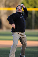 Wofford College President Dr. Nayef H. Samhat  throws out the first pitch before a game against the Boston College Eagles on Friday, February 13, 2015, at Russell C. King Field in Spartanburg, South Carolina. (Tom Priddy/Four Seam Images)