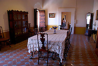 Spanish colonial era dining room, Museo Casa del Afenique, Puebla, Mexico. The historical center of Puebla is a UNESCO World Heritage Site.                      .