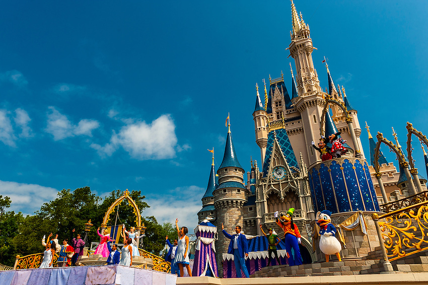 Disney Characters Perform In Front Of The Cinderella Castle Magic