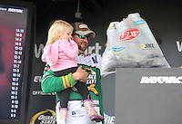 NWA Democrat-Gazette/Michael Woods --04/24/2015--w@NWAMICHAELW... Pro angler Matt Arey from Shelby North Carolina holds his daughter Reese Arey, age 2, as he brings his bag of bass up to be weighed in during the second day of the Walmart FLW tournament on Beaver Arey moved to 3rd place after the second day of the tournament.