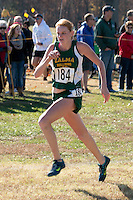 Zalma freshman Hannah Steinberg sprints to a 98th place finish in the Class 1 girl's race at the 2015 MSHSAA State Cross Country Championships.