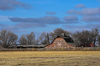 An old, weathered barn in Morgan County, Colorado greets a December day.