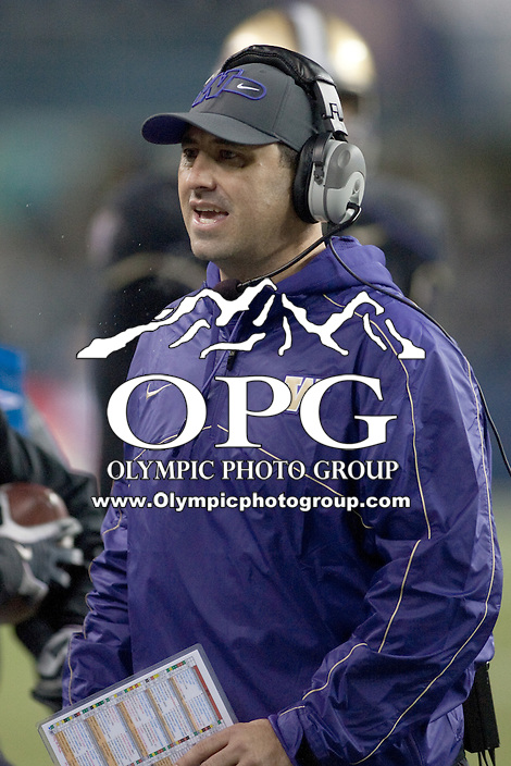 NOV 10, 2012:  Washington's Steve Sarkisian against Utah.  Washington defeated Utah  34-15 at CenturyLink Field in Seattle, WA...