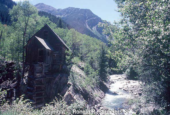 The Old Crystal Mill, sometimes referred to as the Old Mill, is a 1892 wooden powerhouse located on an outcrop above the Crystal River.
