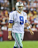 Dallas Cowboys quarterback Tony Romo (9) walks to the sideline during a break in the 4th quarter action against the Washington Redskins at FedEx Field in Landover, Maryland on Sunday, September 12, 2010. The Redskins won the game 13 - 7..Credit: Ron Sachs / CNP