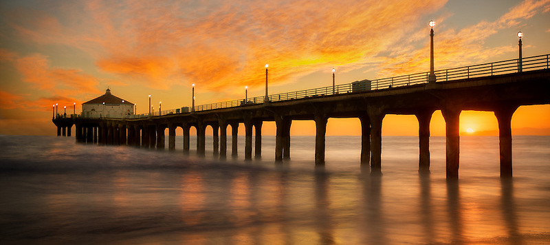 Manhattan Beach Pier at Sunset. Manhattan Beach, California