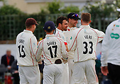 June 11th 2017, Trafalgar Road Ground, Southport, England; Specsavers County Championship Division One; Day Three; Lancashire versus Middlesex; Stephen Parry is congratulated by his team mates after he bowls Middlesex keeper Stephen Eskinazi for 34; Lancashire were all out for 309 after lunch in reply to Middlesex's first innings score of 180 all out