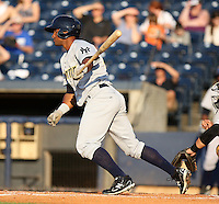 Trenton Thunder outfielder Zoilo Almonte #46 during a game against the Akron Aeros at Canal Park on July 26, 2011 in Akron, Ohio.  Trenton defeated Akron 4-3.  (Mike Janes/Four Seam Images)