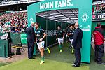 01.09.2019, wohninvest Weserstadion, Bremen, GER, 1.FBL, Werder Bremen vs FC Augsburg, <br /> <br /> DFL REGULATIONS PROHIBIT ANY USE OF PHOTOGRAPHS AS IMAGE SEQUENCES AND/OR QUASI-VIDEO.<br /> <br />  im Bild<br /> <br /> Spieler kommen vor dem Spiel zum warm machen aus dem Spielertunnel<br /> Niklas Moisander (Werder Bremen #18)<br /> Davy Klaassen (Werder Bremen #30)<br /> <br /> Foto © nordphoto / Kokenge